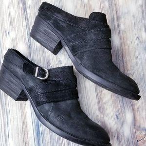 New BORN black keather heeled mule